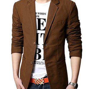 Men's Slim Single Breasted Cotton Blazer
